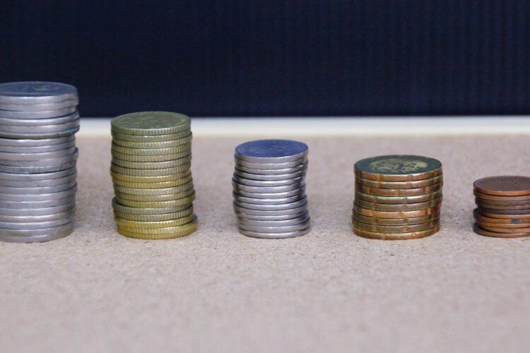 A few piles of coins.